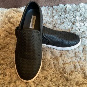 Size 10 Black and White Slip-Ons